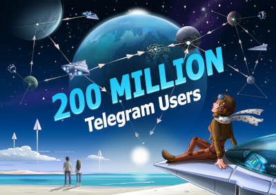 Telegram lady in aviator costume leans against her spacecraft on an alien beach, watching a sky full of paper-plane-shaped spaceships traveling between planets.