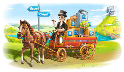 Telegram dude rides a horse-drawn cart with boxes away from a great safe in the clouds.