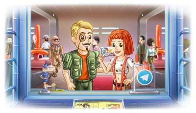 Telegram people show their IDs at a counter while dressed up as Korben and Lilu Dallas from the 'Fifth Element'.