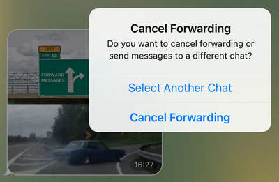 Choose a different chat or cancel forwarding